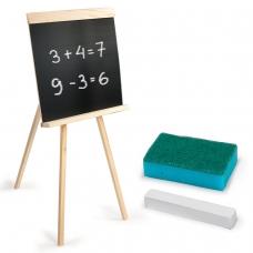 Доска для мела на треноге 42х45 см, с мелком и губкой, черная, ПИФАГОР, 235499