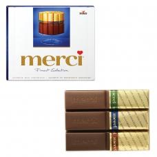 Конфеты шоколадные MERCI Мерси, ассорти из молочного шоколада, 250 г, картонная коробка, 015416-00/35/49