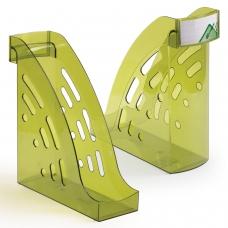 Лоток вертикальный для бумаг СТАММ 'Торнадо' 255х300 мм, ширина 95 мм, тонированный зеленый, ЛТ406