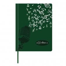 Дневник для музыкальной школы 48 л., обложка кожзам твердый, термотиснение, BRAUBERG, зеленый, 105501