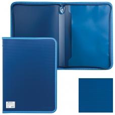 Папка на молнии пластиковая BRAUBERG 'Contract', А4, 335х242 мм, внутренний карман, синяя, 225161