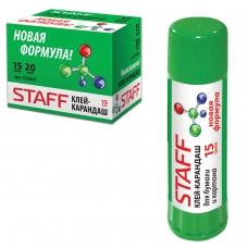 Клей-карандаш STAFF, 15 г, PVP-основа, новая формула, 225001