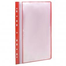 Папка 10 вкладышей STAFF с перфорацией, мягкая, красная, 0,16 мм, 224976