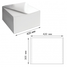Бумага самокопирующая с перфорацией белая, 420х305 мм 12', 2-х слойная, 900 комплектов, DRESCHER, 110758