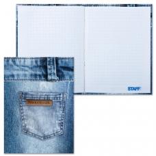 Блокнот 7БЦ, А6, 80 л., обложка ламинированная, клетка, STAFF, 'Джинса', 110х147 мм, 120952