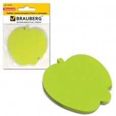 Блок самоклеящийся стикер фигурный BRAUBERG, яблоко, 50 л., зеленый, европодвес, 122709