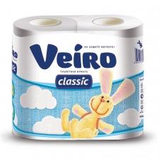 Бумага туалетная бытовая, спайка 4 шт., 2-х слойная 4х17,5 м, VEIRO Classic Вейро, белая, 5с24