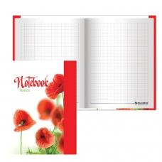 Блокнот 7БЦ, А6, 80 л., обложка ламинированная, выборочный лак, клетка, BRAUBERG, 'Красные маки', 110х147 мм, 123243