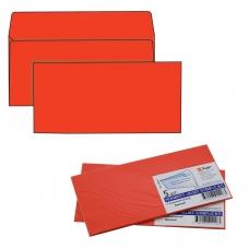 Конверты С65, комплект 5 штук, отрывная полоса STRIP, красные, упаковка с европодвесом, 114х229 мм, 206А.5