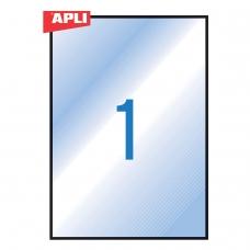 Этикетка самоклеящаяся ВСЕПОГОДНАЯ, 210х297 мм, 1 этикетка, полиэстер, прозрачная, 20 листов, APLI, 01225