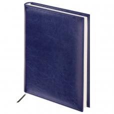 Ежедневник BRAUBERG недатированный, А4, 175х247 мм, Imperial, под гладкую кожу, 160 листов, темно-синий, кремовый блок, 124971