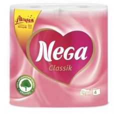 Бумага туалетная бытовая, спайка 4 шт., 2-х слойная 4х17,5 м, NEGA Classic 'Нега', белая
