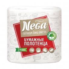 Полотенца бумажные бытовые, спайка 2 штуки, 2-х слойные 2х13,2 м, NEGA 'Нега', белые