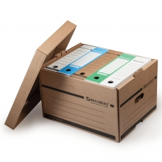Короб архивный BRAUBERG, 26,5x40,5x33 см, надстраиваемый, с крышкой, картон, бурый, 126521