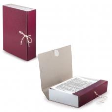 Короб архивный STAFF, 8 см, 100% покрытие бумвинил, 2 х/б завязки, до 700 л., бордовый, 126900