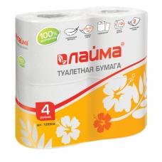 Бумага туалетная бытовая, спайка 4 шт., 2-х слойная 4х19 м, ЛАЙМА, белая, 126904