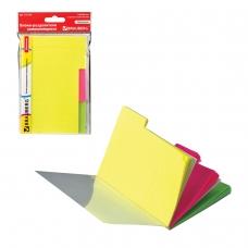 Блоки-разделители самоклеящиеся BRAUBERG НЕОНОВЫЕ, 148х98 мм, 3 цвета х 20 листов, пластиковая книжка, 127176