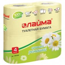 Бумага туалетная бытовая, спайка 4 шт., 2-х слойная 4х19 м, ЛАЙМА, аромат ромашки, 128720