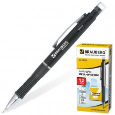 Карандаш механический BRAUBERG 'Modern', корпус черный, резиновый грип, ластик, 0,5 мм, 180286