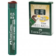 Грифели запасные FABER-CASTELL, КОМПЛЕКТ 12 шт., HB, полимерный, 0,5 мм, FCOF9125_НВ
