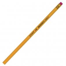 Карандаш чернографитный STAFF, 1 шт., твердость НВ, желтый корпус, с резинкой, незаточенный, 180873