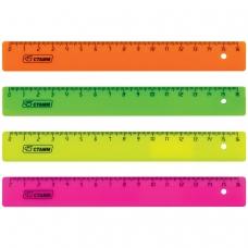 Линейка пластиковая 16 см, СТАММ, флуоресцентная, ассорти, 4 цвета, ЛН01
