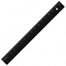Линейка пластиковая 16 см, СТАММ, непрозрачная, черная, ЛН04