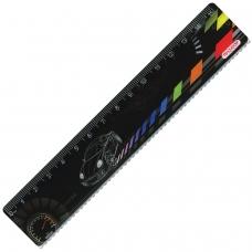 Линейка пластиковая 15 см, ПИФАГОР 'Авто', цветная печать, с волнистым краем, европодвес, 210634