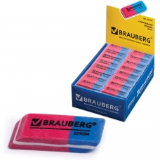 Резинка стирательная BRAUBERG 'Assistant 80', 41х14х8 мм, красно-синяя, в картонном дисплее, 221034