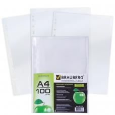 Папки-файлы перфорированные, А4, BRAUBERG, комплект 100 шт., гладкие, 'Яблоко', 35 мкм, 221710