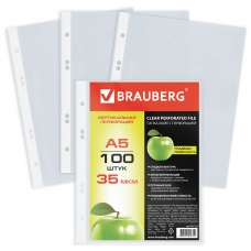 Папки-файлы перфорированные, А5, BRAUBERG, вертикальные, комплект 100 шт., гладкие, 'Яблоко', 35 мкм, 221714