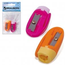 Точилки BRAUBERG, набор 2 шт., 'ErgoClip', пластиковые с клипом, в упаковке с подвесом, ассорти, 222490