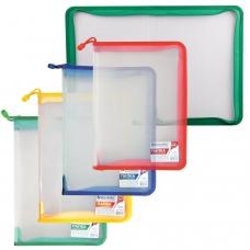Папка на молнии пластиковая BRAUBERG 'Диагональ', А4, 325х230 мм, прозрачная, молния ассорти, 224052
