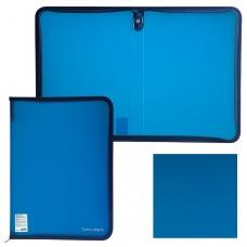 Папка на молнии пластиковая, А4, объемная, 335х240х20 мм, тонированная синяя, BRAUBERG, 226035