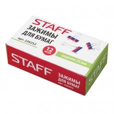 Зажимы для бумаг STAFF, комплект 12 шт., 25 мм, на 100 л., 'Триколор', в картонной коробке, 226252
