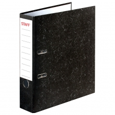 Папка-регистратор STAFF 'Бюджет' с мраморным покрытием, 70 мм, без уголка, черный корешок, 227185