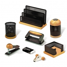 Набор настольный GALANT 'Wood&Metal', 8 предметов светлое дерево, черный металл, 230877