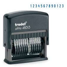 Нумератор 13-разрядный, оттиск 42х3,8 мм, синий, TRODAT 48313, корпус черный, 53198