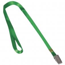 Лента для бейджей BRAUBERG, 45 см, металлический клип, зеленая, 235735