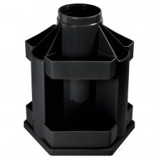 Подставка-органайзер СТАММ 'Maxi Desk', вращающаяся, 120х140х175 мм, 10 отделений, черная, ОР200