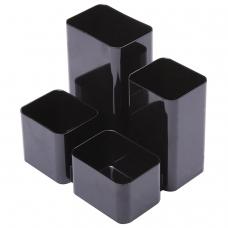 Подставка-органайзер СТАММ 'Юниор', 86х108х102 мм, 4 отделения, черная, ОР21