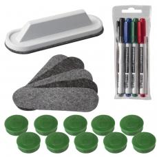 Набор для магнитно-маркерной доски '2х3' Eco Boards, 4 маркера+стиратель+чистящее средство+10 магнитов, AS116