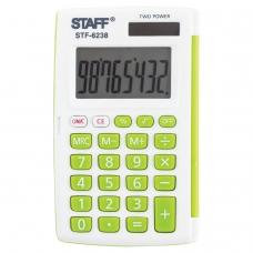 Калькулятор STAFF карманный STF-6238, белый, с зелёными кнопками, 8 разрядов, двойное питание, 104х63 мм, блистер, 250283