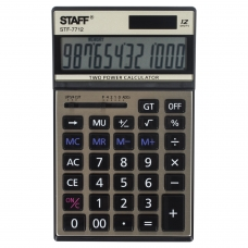 Калькулятор STAFF настольный металлический STF-7712-GOLD, ЗОЛОТИСТЫЙ, 12 разрядов, 179х107 мм, блистер, 250306