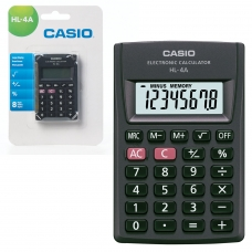 Калькулятор CASIO карманный HL-4A-S, 8 разрядов, питание от батарейки, 87х56х8,8 мм, блистер, черный, HL-4A-S-EP