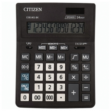 Калькулятор CITIZEN BUSINESS LINE CDB1401BK, настольный, 14 разрядов, двойное питание, 157x200 мм