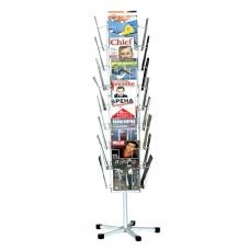 Стойка для рекламных материалов напольная, сетчатая, на 32 лотка, вращающаяся, белая, А-29-ТМ