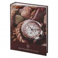 Фотоальбом BRAUBERG на 200 фотографий 10х15 см, твердая обложка, 'Часы', коричневый, 390667