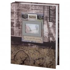 Фотоальбом BRAUBERG на 200 фотографий 10х15 см, твердая обложка, 'Путешествие', бокс, коричневый, 390672