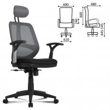 Кресло BRABIX 'Saturn ER-400', с подголовником, комбинированное черное/серое, 530871